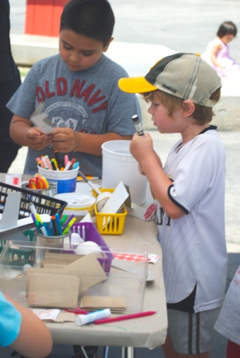 Festival attendee attending a booth