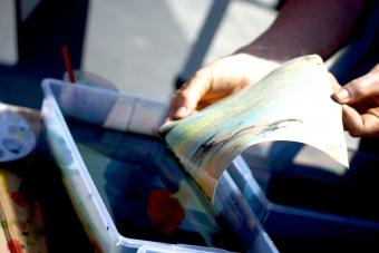 Tye-dye artwork at a booth