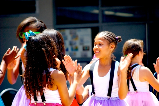 Elementary school dancers performing at the festival